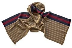 Шарф из шелка и шерсти бежево-коричневый 01882