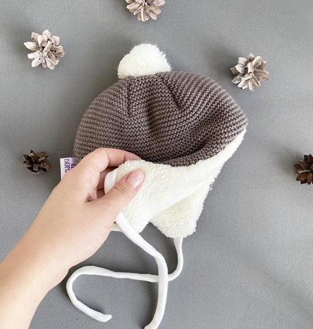 Утепленная шапка для новорожденных  (0-3 мес, коричневый)