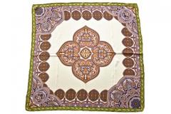 Итальянский платок из шелка коричневый с узором 5128