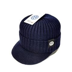 Кепка вязаная с логотипом Фольксваген (Бейсболка Volkswagen) синяя