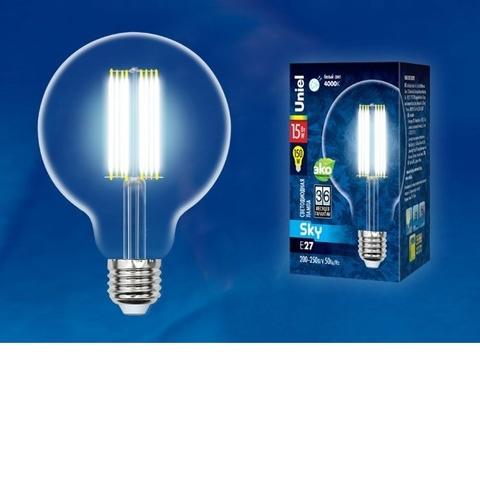 Лампа светодиодная UNIEL LED-G95-15W/4000K/E27/CL PLS02WH