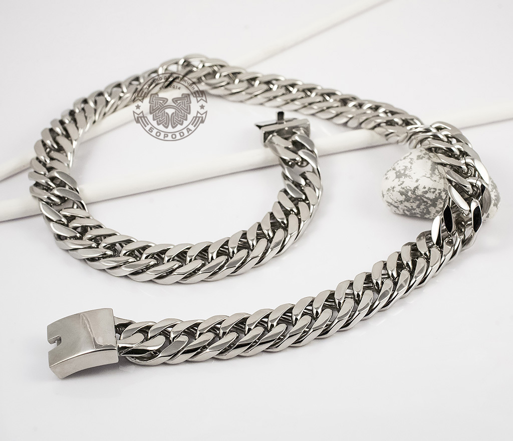 PM201 Широкая, массивная цепь из ювелирной стали (60 см) фото 02