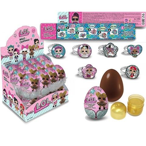 Яйцо кондитерское с коллекционной игрушкой в виде колечка из металла и полимерных материалов внутри, TM L.O.L. Surprise!, 1кор*6бл*24шт, 20г