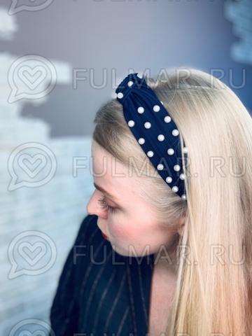 Синий Ободок чалма для волос с искусственным жемчугом