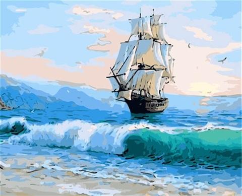 Картина раскраска по номерам 40x50 Корабль мчит по волнам (Без подрамника)