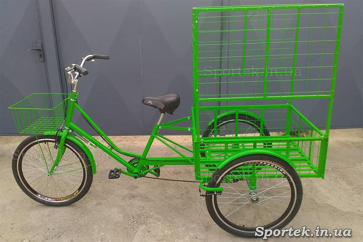 Триколісний вантажний велосипед 'Квітковий' для об'ємних і важких вантажів і колесами 24