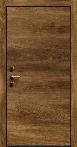 Входная дверь «Linea 1» в цвете, Дуб коньяк (натуральный шпон)