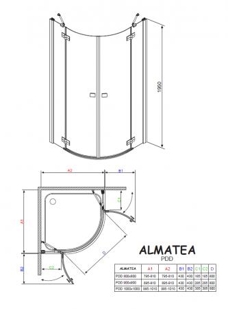 Душевой угол RADAWAY Almatea PDD 100 30522-01-05N