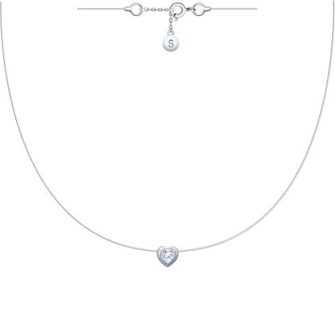 94070154 - Колье-леска-невидимка Сердце из серебра с фианитом