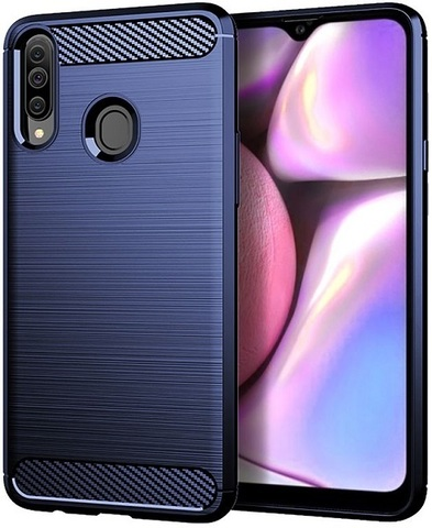 Чехол Samsung Galaxy A20S цвет Blue (синий), серия Carbon, Caseport