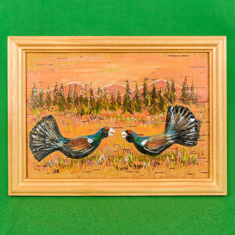 Картина на бересте Две птицы