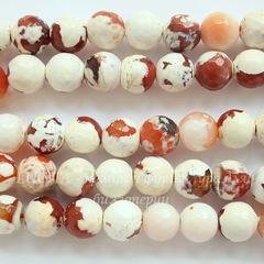 Бусина Агат Огненный (тониров), шарик с огранкой, цвет - белый с коричневым, 10 мм, нить
