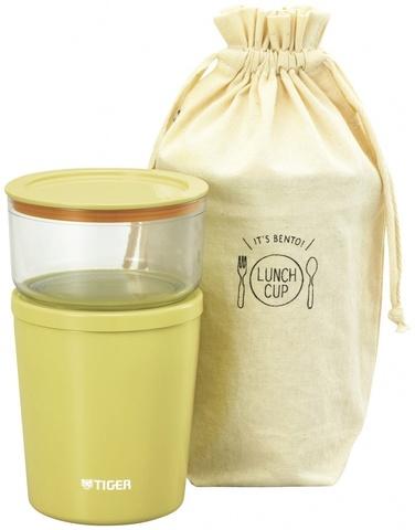 Термос для еды с контейнерами Tiger LCC-A (0,32л + 0,25л), желтый + чехол