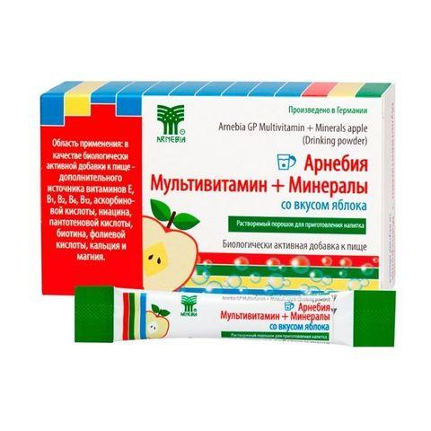 Арнебия Мультивитамин + Минералы со вкусом яблока, 10 пакетиков по 5 гр