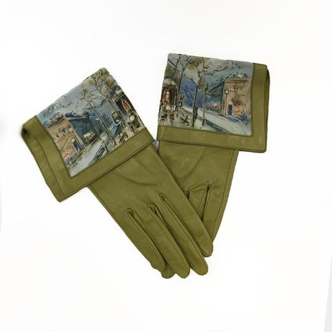 Кожаные перчатки Зимний Город - Олива