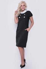 Офисное платье в полоску из костюмной ткани с оригинальным воротом горловины. Силуэт приталенный, функциональные карманы, по спинке замок. Длина изделия - 99см.(все размеры)