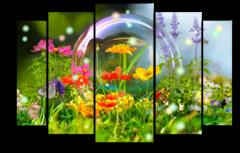 """Модульная картина """"Цветы в мыльном пузыре"""""""