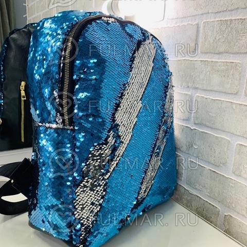 Рюкзак с пайетками меняющий цвет Голубой-Серебристый Большой 37х30х12 см и брелок сердце