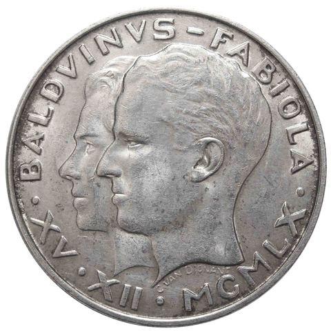 50 франков. Бельгия. Свадьба короля Бодуэна и доны Фабиолы де Мора. Серебро. 1960 год. XF-AU