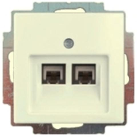 Розетка телефонная двойная RJ11х2. Цвет шале-белый. ABB Basic 55. 1753-0-0209+130 104 21