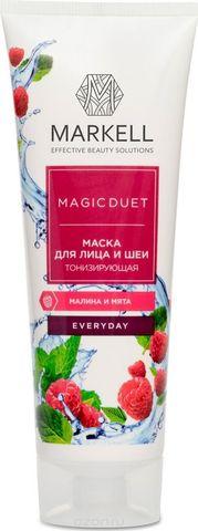 Markell Magic Duet Маска для лица и шеи Тонизирующая Малина-Мята 120мл