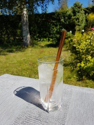 Трубочка стеклянная прямая янтарная