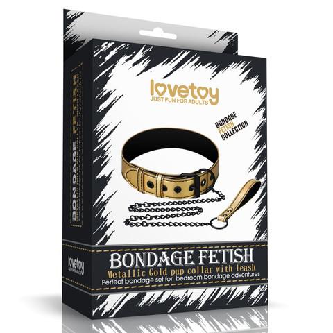Ошейник с поводком Bondage Fetish Gold
