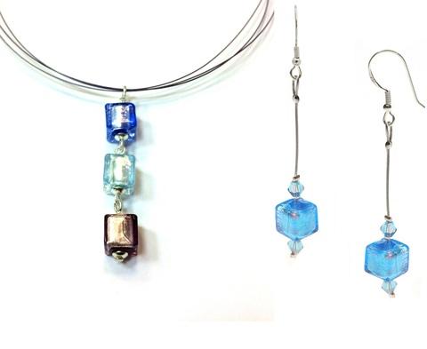Комплект Estate Cubo с голубыми серьгами №01