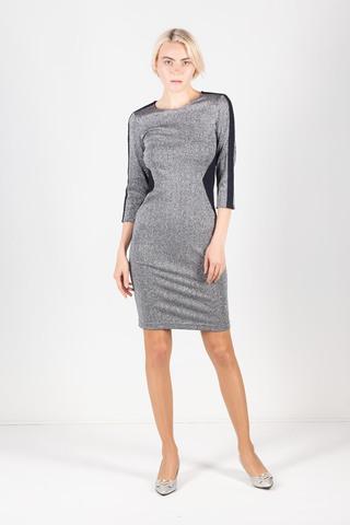 Фото элегантное серебристое платье с контрастными вставками на рукавах - Платье З430а-217 (1)