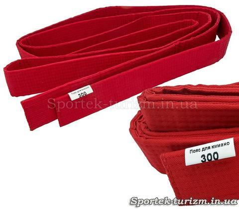 Красный пояс 300 см для кимоно