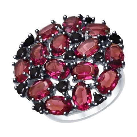 94012682 - Кольцо из серебра с сиреневыми кристаллами Swarovski и фианитами
