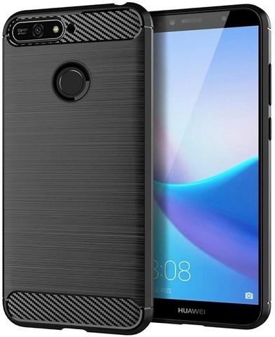 Чехол Huawei Y6 Prime 2018 (Enjoy 8E, Honor Play 7A Pro) цвет Black (черный), серия Carbon, Caseport