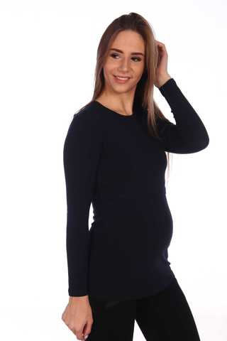 Мамаландия. Лонгслив для беременных и кормящих с горизонтальным секретом, темно-синий