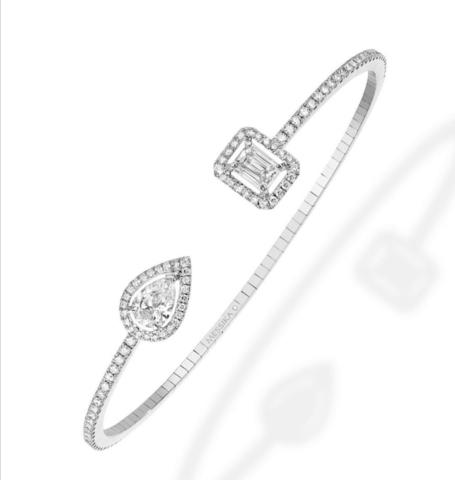 Жёсткий браслет из серебра с цирконами