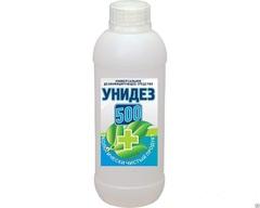 концентрат УНИДЕЗ 500 антимикробный  раствор  1 литр  на основе хлора и и гидропероксида