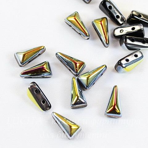 Бусина Vexolo Треугольник с 2 отверстиями, 8х5 мм, черная радужная