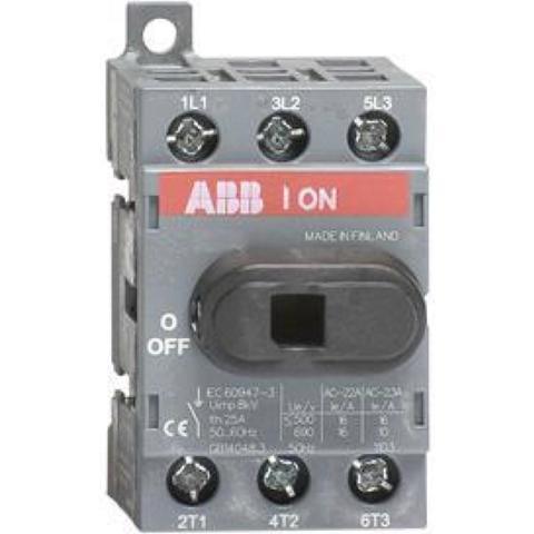 Выключатель нагрузки-рубильник до 16 A, 3-полюсный OT16F3. ABB. 1SCA104811R1001