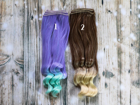 Волосся для ляльки, треси 20 см. Кольорові прямі з хвилястими кінчиками.