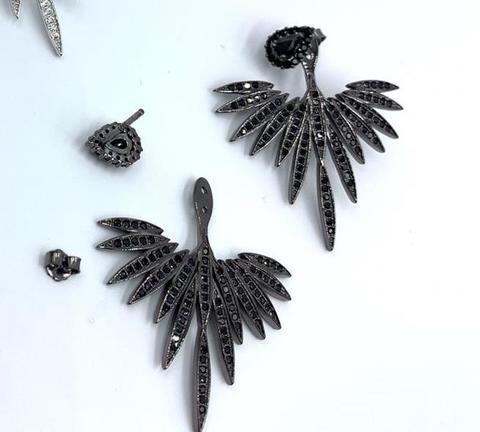 Серьги-джекеты из серебра с черными цирконами в стиле APM MONACO
