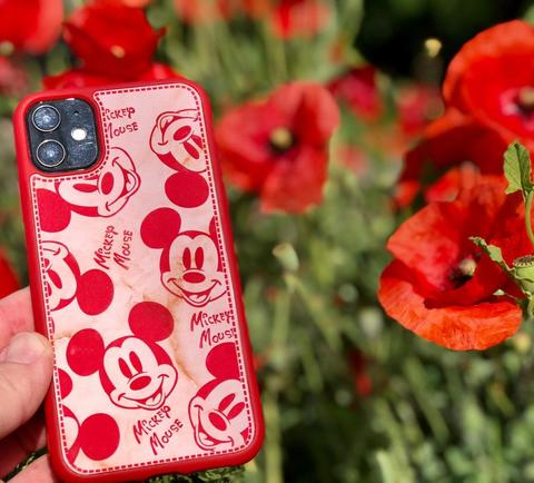 Чехол iPhone 7/8 Mickey Mouse Leather vintage /red/