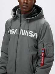 Куртка Alpha Industries MA-1 Hooded NASA II Gun Metal (Серая)
