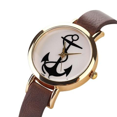 Часы с якорем (коричневый)