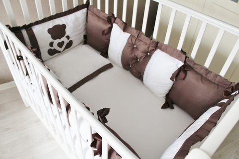 Комплект в кроватку Шоколад, на 4 стороны кроватки