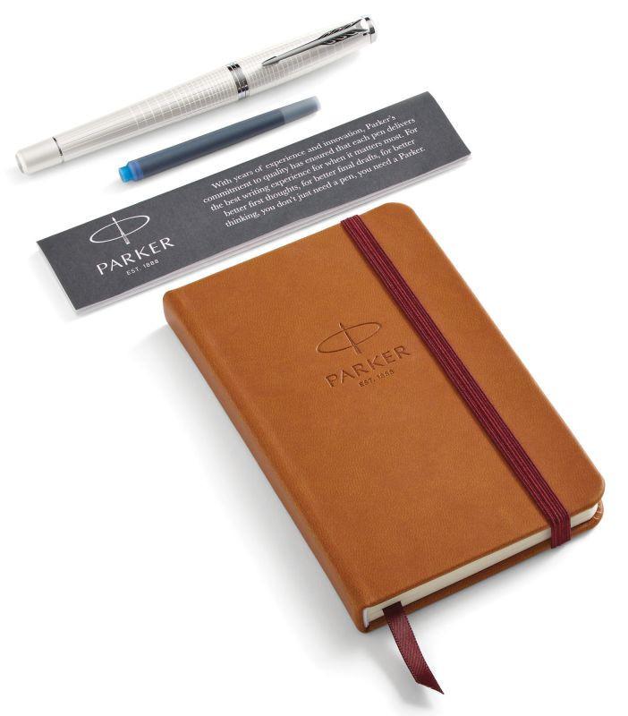 Набор подарочный Parker Urban Premium - Pearl Metal CT, перьевая ручка, M + блокнот