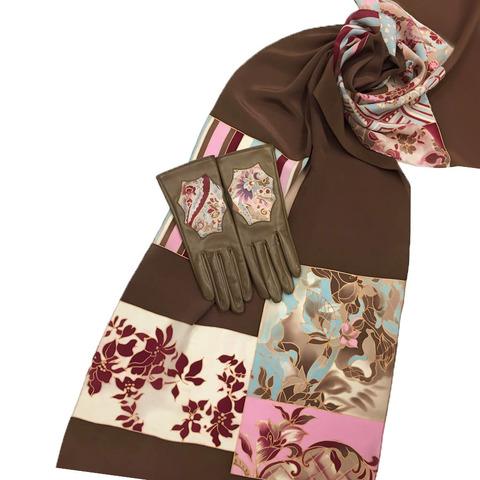 Комплект шарф батик и перчатки Пэчворк