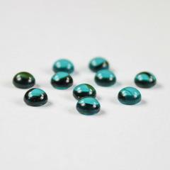Кабошон круглый Чешское стекло, цвет - голубой с полосками, 5 мм, 10 штук
