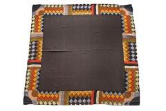 Итальянский платок из шелка коричневый с орнаментом 5251