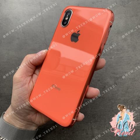 Чехол iPhone X/XS Glass Silicone Case Logo /orange/