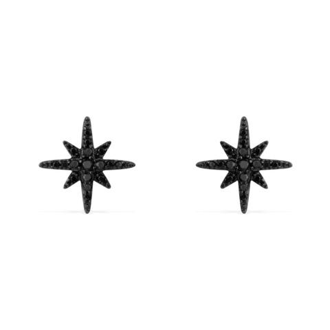 Серьги пусеты  из черного серебра с цирконами APM MONACO