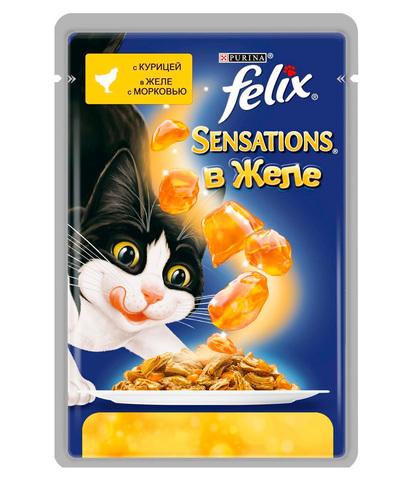 Felix Sensations кусочки в желе для кошек с курицей и морковью 85 г